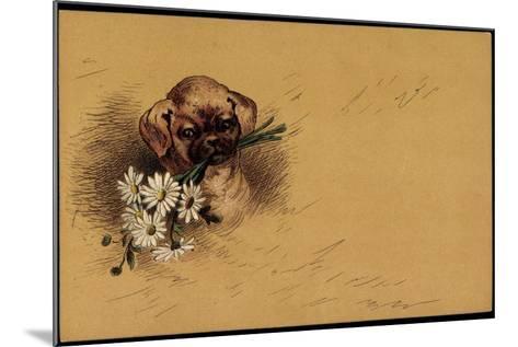 K?nstler Litho Kleiner Hundewelpe Mit Blumenstrau?--Mounted Giclee Print