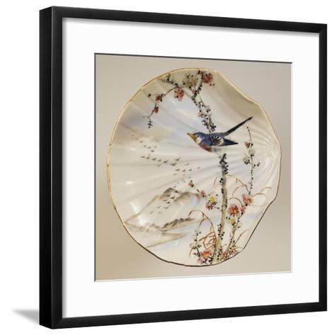 Shell Shaped Plate Decorated with Birds and Landscape, Porcelain--Framed Art Print
