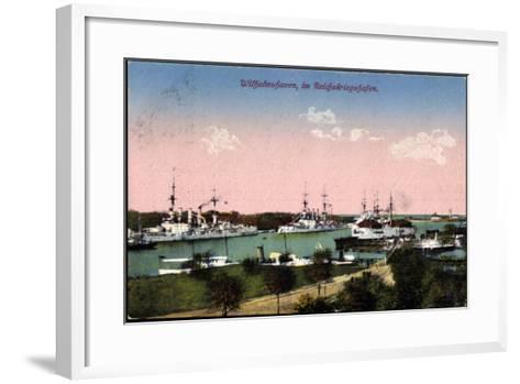 Wilhelmshafen Nieders., Reichskriegshafen, Schiffe--Framed Art Print