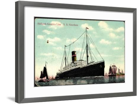 Hapag, S.S. Noordam, Dampfschiff, Segelboote--Framed Art Print