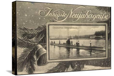 Frohes Neujahr, Unterseeboot, Soldaten, Tanne--Stretched Canvas Print