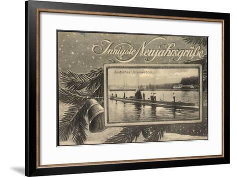 Frohes Neujahr, Unterseeboot, Soldaten, Tanne--Framed Art Print