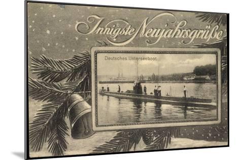 Frohes Neujahr, Unterseeboot, Soldaten, Tanne--Mounted Giclee Print
