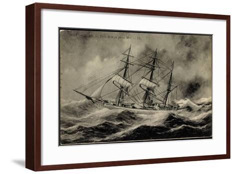Künstler Calais,Trois Mâts En Pleine Mer, Segelschiff--Framed Art Print