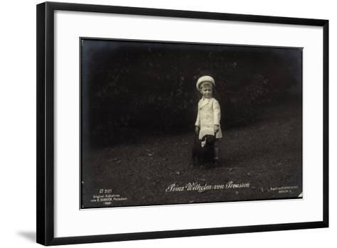 Junger Prinz Wilhelm Von Preußen Mit Dackel, Photochemie 2127--Framed Art Print