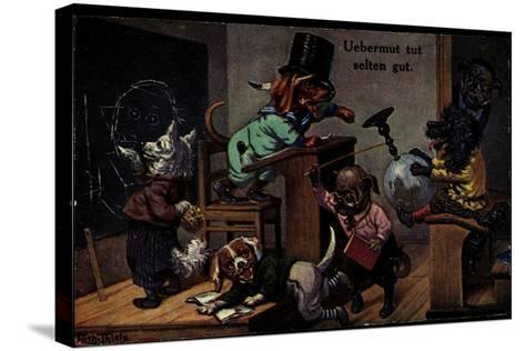 Künstler Thiele, Arthur, Uebermut Tut Selten Gut, Hunde, Schulklasse--Stretched Canvas Print