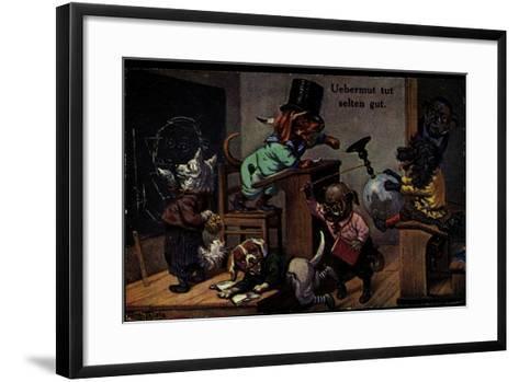 Künstler Thiele, Arthur, Uebermut Tut Selten Gut, Hunde, Schulklasse--Framed Art Print
