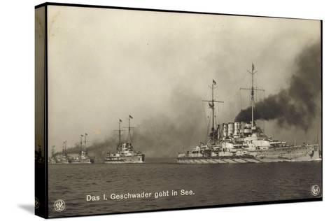 Kriegsschiffe Deutschland, I. Geschwader in See--Stretched Canvas Print