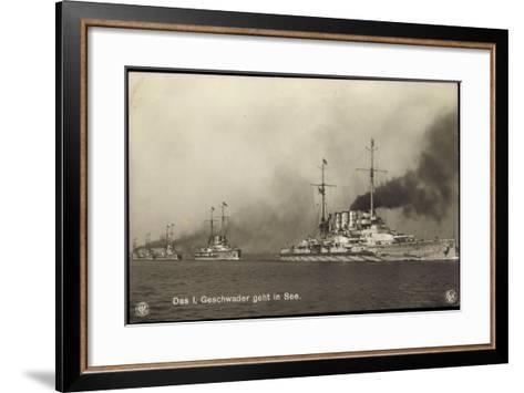 Kriegsschiffe Deutschland, I. Geschwader in See--Framed Art Print