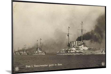 Kriegsschiffe Deutschland, I. Geschwader in See--Mounted Giclee Print