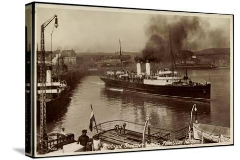 Folkestone, Boulogne Steamer Leaving Harbour--Stretched Canvas Print