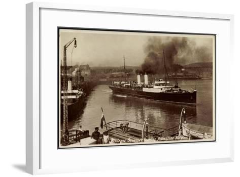 Folkestone, Boulogne Steamer Leaving Harbour--Framed Art Print
