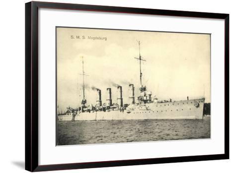Deutsches Kriegsschiff, S.M.S. Magdeburg, 4 Schlote--Framed Art Print