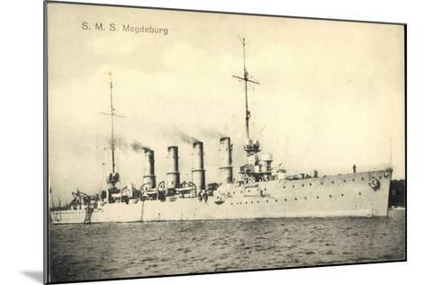 Deutsches Kriegsschiff, S.M.S. Magdeburg, 4 Schlote--Mounted Giclee Print