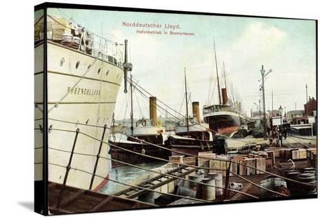 Bremerhaven, Norddeutscher Lloyd, Hafenbetrieb, Schiffe--Stretched Canvas Print