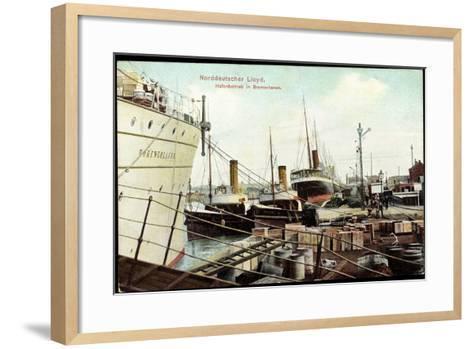 Bremerhaven, Norddeutscher Lloyd, Hafenbetrieb, Schiffe--Framed Art Print