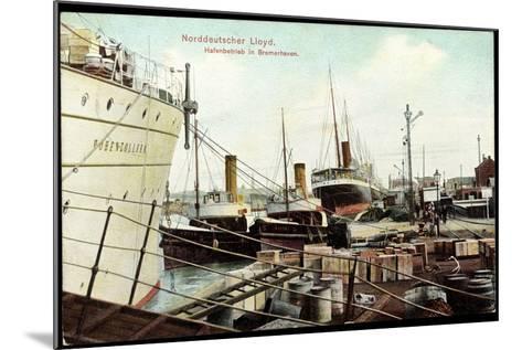 Bremerhaven, Norddeutscher Lloyd, Hafenbetrieb, Schiffe--Mounted Giclee Print