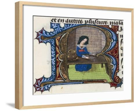 Cleaning Rice, Miniature from the Treaty of Medicine--Framed Art Print