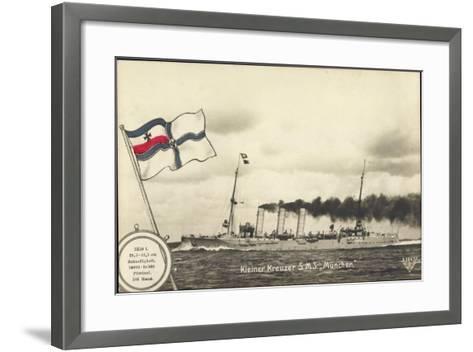 Deutsches Kriegsschiff, Kleiner Kreuzer S.M.S M?nchen--Framed Art Print