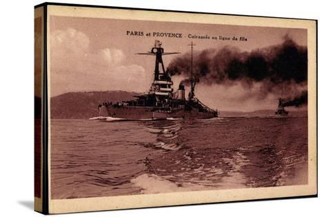 Französische Kriegsschiffe Paris Und Provence--Stretched Canvas Print