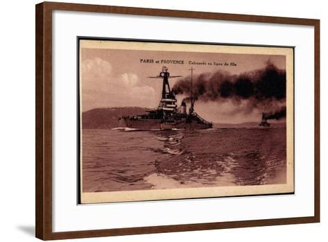 Französische Kriegsschiffe Paris Und Provence--Framed Art Print