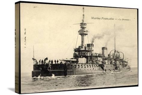 Franz?sische Marine, Le Brennus, Kriegsschiff--Stretched Canvas Print