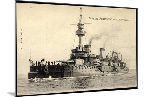 Franz?sische Marine, Le Brennus, Kriegsschiff--Mounted Giclee Print