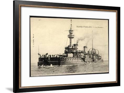 Franz?sische Marine, Le Brennus, Kriegsschiff--Framed Art Print