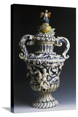 Amphora-Shaped Sacristy Water Vessel, Ceramic, Italy--Stretched Canvas Print