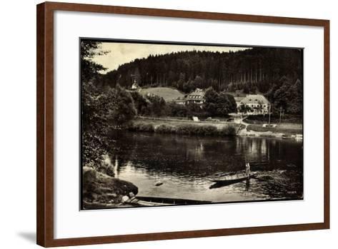 Nittenau, Gaststätte Mariental Am Regen, Boot--Framed Art Print