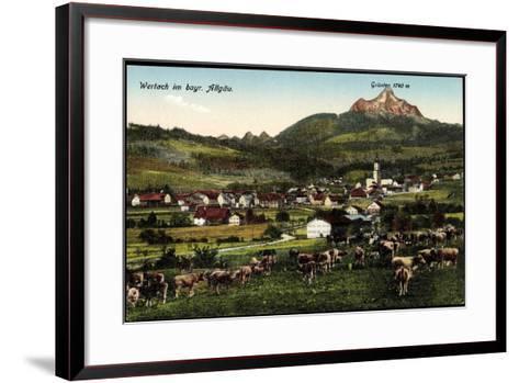 Wertach Im Bayr, Allgäu, Kuhherde Mit Ortsblick Und Grünten--Framed Art Print