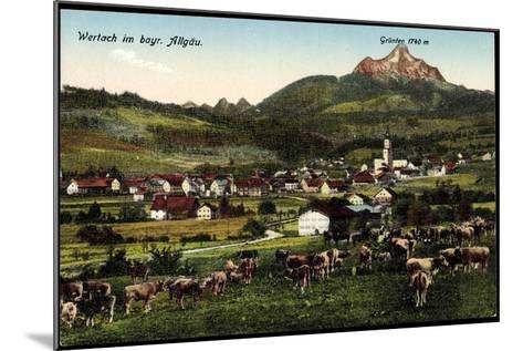 Wertach Im Bayr, Allgäu, Kuhherde Mit Ortsblick Und Grünten--Mounted Giclee Print