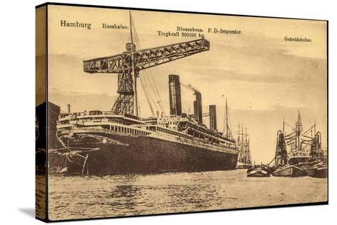 Hamburg, Rosshafen, Hapag, Dampfer Imperator, Kran--Stretched Canvas Print