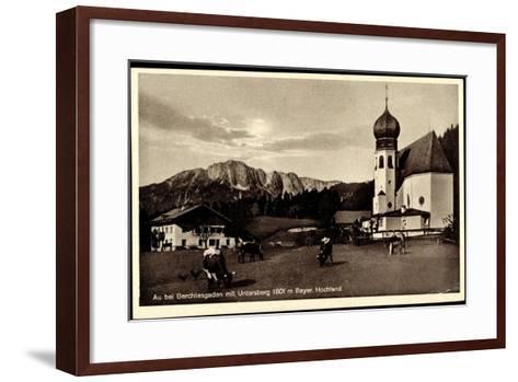 Au Berchtesgaden Bayer. Hochland, Rinder an Der Kirche, Wohnhaus, Felsen--Framed Art Print