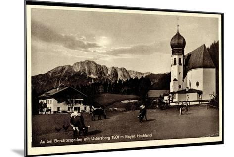 Au Berchtesgaden Bayer. Hochland, Rinder an Der Kirche, Wohnhaus, Felsen--Mounted Giclee Print