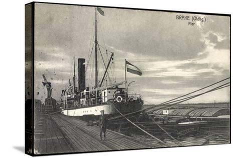 Bre Dötlingen, Blick Zur Pier, Seemann, Schiff--Stretched Canvas Print