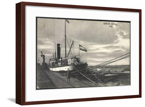 Bre Dötlingen, Blick Zur Pier, Seemann, Schiff--Framed Art Print