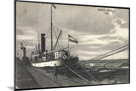 Bre Dötlingen, Blick Zur Pier, Seemann, Schiff--Mounted Giclee Print