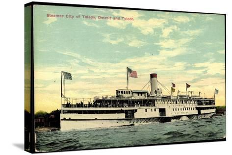 Steamer S.S. City of Toledo, Detroit and Toledo--Stretched Canvas Print