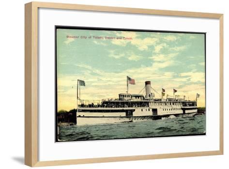 Steamer S.S. City of Toledo, Detroit and Toledo--Framed Art Print