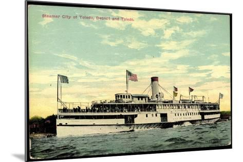 Steamer S.S. City of Toledo, Detroit and Toledo--Mounted Giclee Print