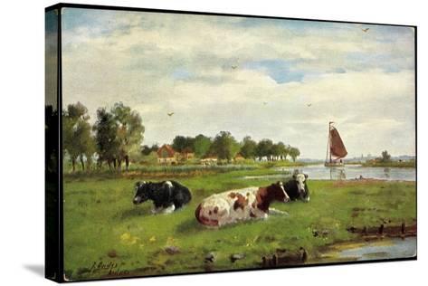 Künstler Kühe Auf Der Wiese Am Flussrand, Segelboot--Stretched Canvas Print
