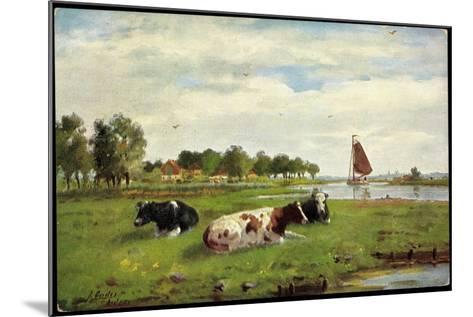 Künstler Kühe Auf Der Wiese Am Flussrand, Segelboot--Mounted Giclee Print