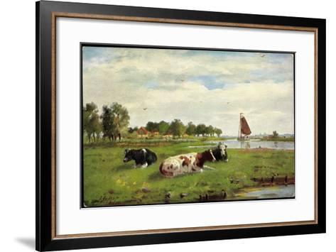 Künstler Kühe Auf Der Wiese Am Flussrand, Segelboot--Framed Art Print
