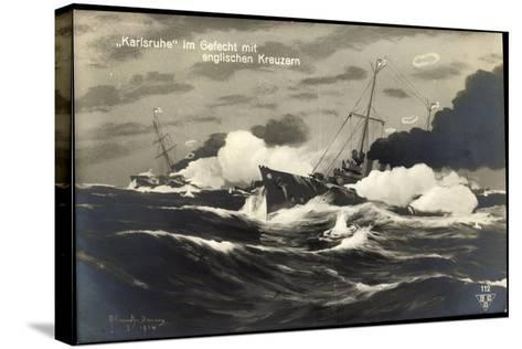 Künstler Deutsches Kriegsschiff Karlsruhe, Gefecht--Stretched Canvas Print