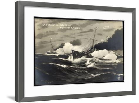 Künstler Deutsches Kriegsschiff Karlsruhe, Gefecht--Framed Art Print