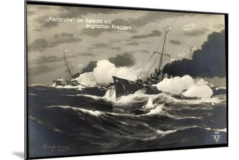 Künstler Deutsches Kriegsschiff Karlsruhe, Gefecht--Mounted Giclee Print