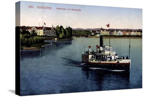 Konstanz Bodensee, Inselhotel Und Seestraße,Dampfer--Stretched Canvas Print