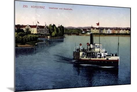 Konstanz Bodensee, Inselhotel Und Seestraße,Dampfer--Mounted Giclee Print