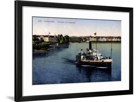 Konstanz Bodensee, Inselhotel Und Seestraße,Dampfer--Framed Art Print